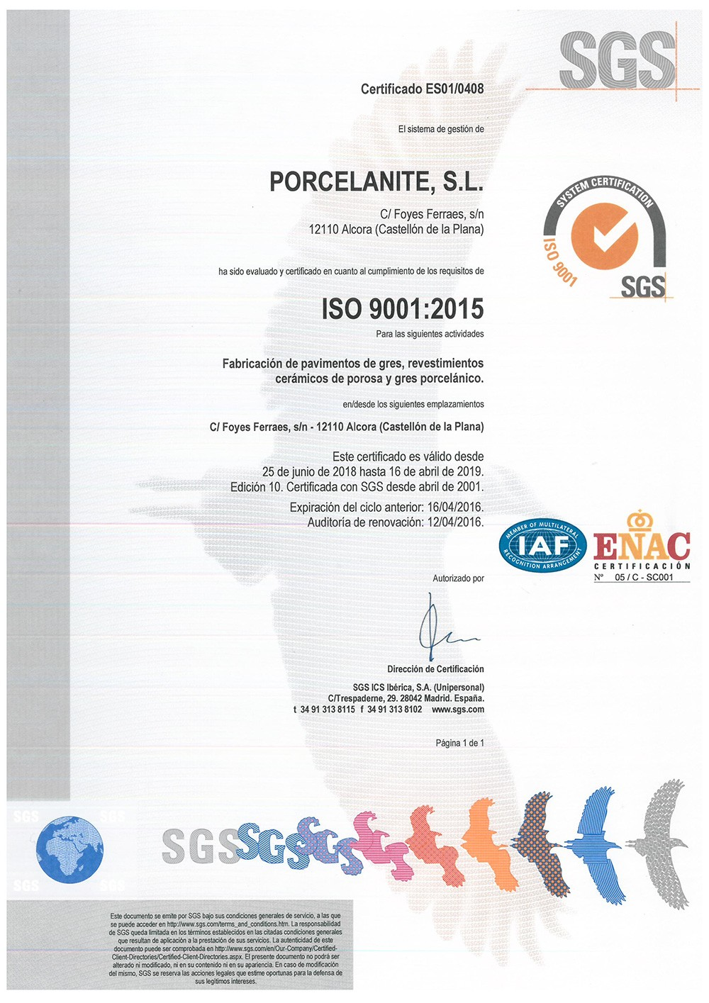 Certificado Iso Porcelanite - Calidad total